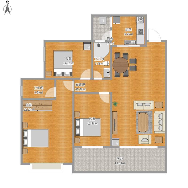 恒祥豪苑125方三房两厅