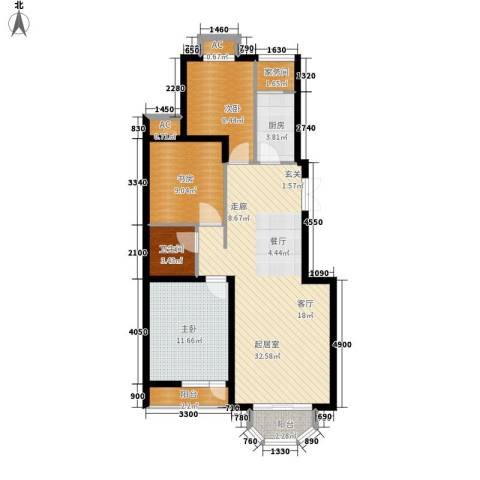 罗马世纪城3室0厅1卫1厨100.00㎡户型图
