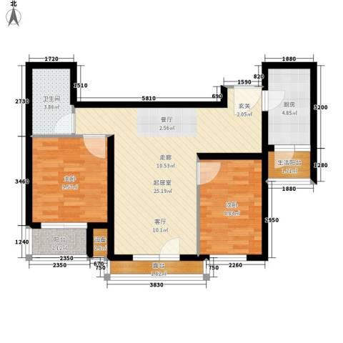嘉美广场2室0厅1卫1厨86.00㎡户型图