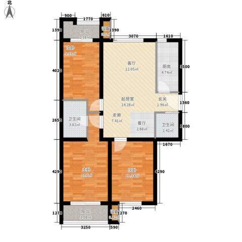 嘉美广场3室0厅2卫1厨111.00㎡户型图