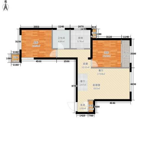 嘉美广场2室0厅1卫1厨106.00㎡户型图