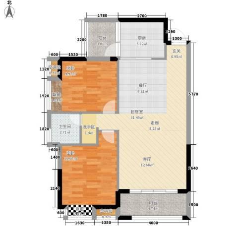 桂林奥林匹克花园2室0厅1卫1厨88.00㎡户型图