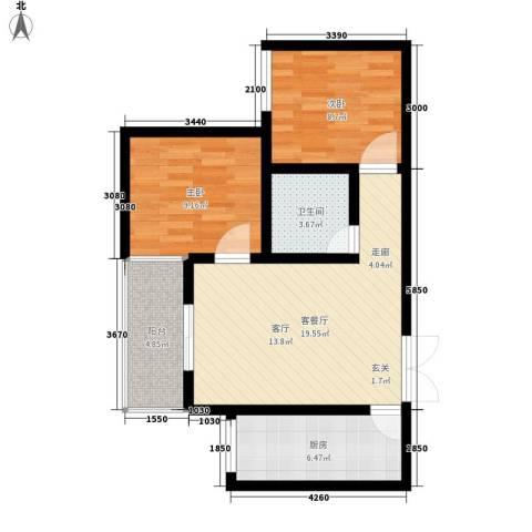 上林沣苑2室1厅1卫1厨70.00㎡户型图
