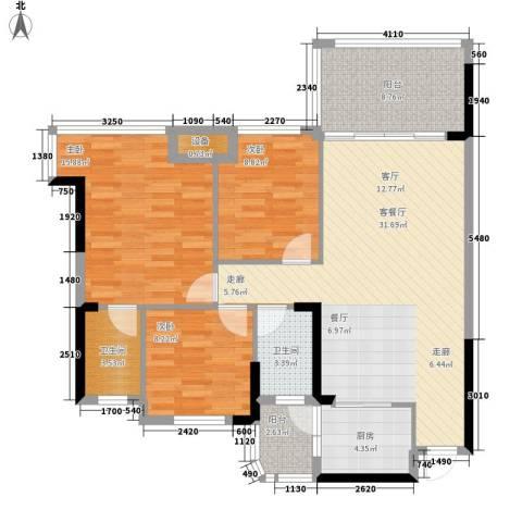 景源公园一号3室1厅2卫1厨112.00㎡户型图