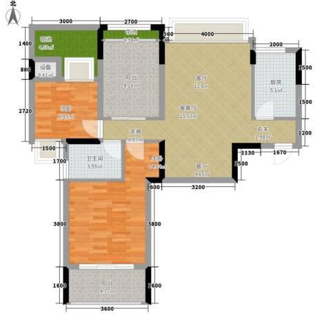 中信城市广场2室1厅1卫1厨109.00㎡户型图