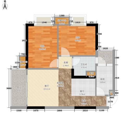 九龙1号2室0厅1卫1厨73.00㎡户型图