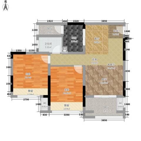 首信皇冠假日2室1厅1卫1厨79.00㎡户型图