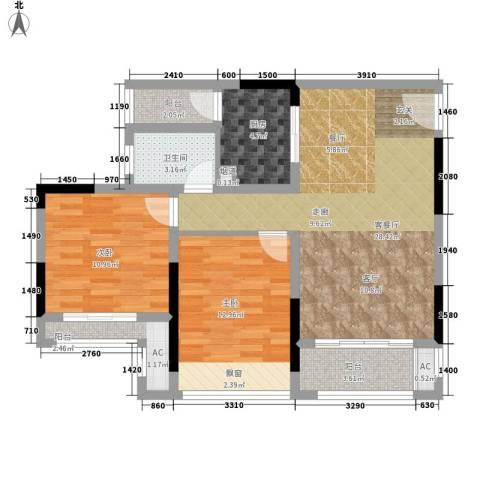 首信皇冠假日2室1厅1卫1厨78.00㎡户型图