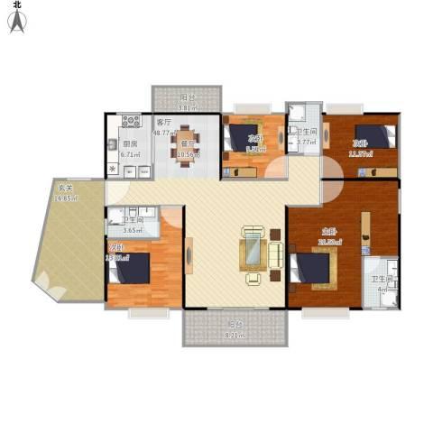 茂名丽景苑4室1厅3卫1厨210.00㎡户型图