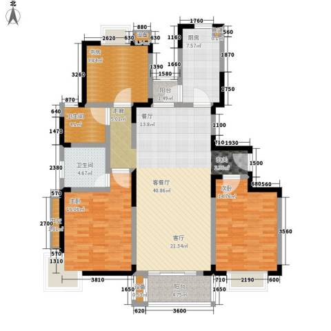 锦泽苑3室1厅2卫1厨154.00㎡户型图