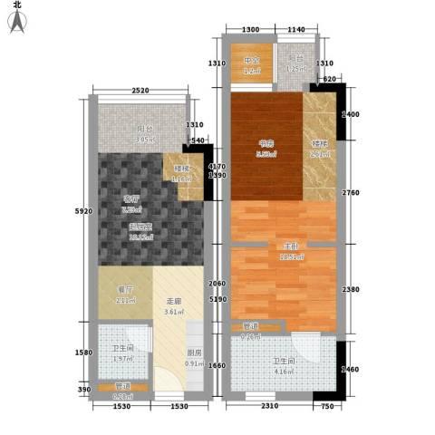 漕湖之星1室0厅2卫0厨50.00㎡户型图