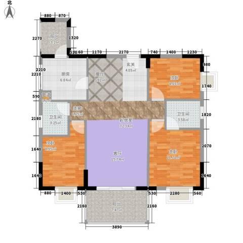 自在城市花园3室0厅2卫1厨105.00㎡户型图