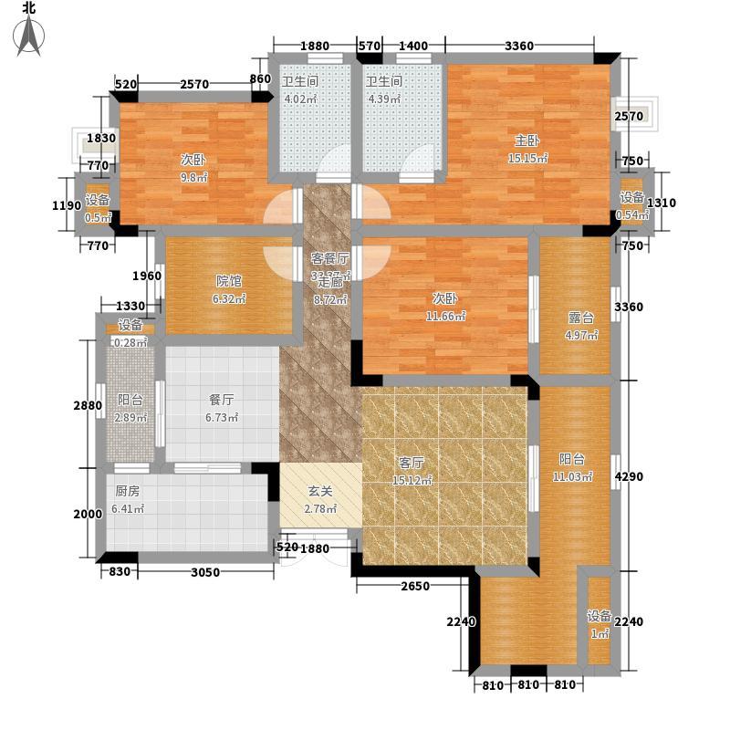 鲁能领秀城104.59㎡二期2、4、7、8、11、12、18号楼标准层E4号户型