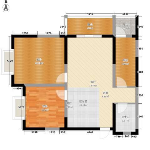 紫郡观澜2室0厅1卫1厨88.00㎡户型图