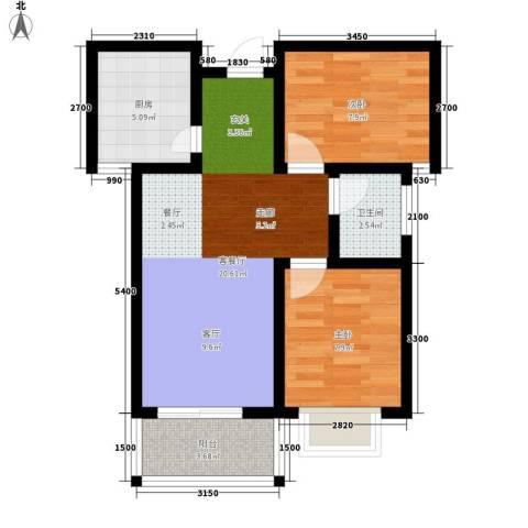 时代SOHO2室1厅1卫1厨68.00㎡户型图