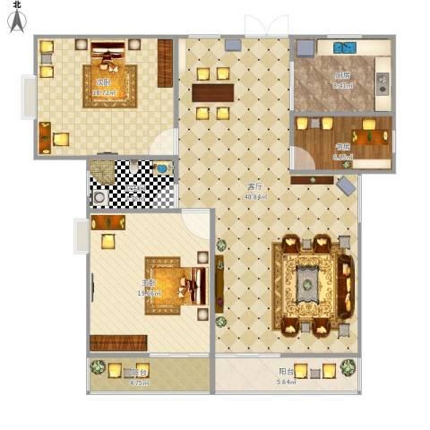御景庄园3室1厅1卫1厨157.00㎡户型图