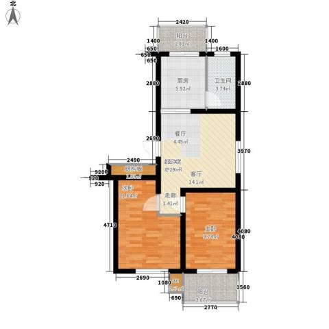 河头里小区2室0厅1卫1厨65.00㎡户型图