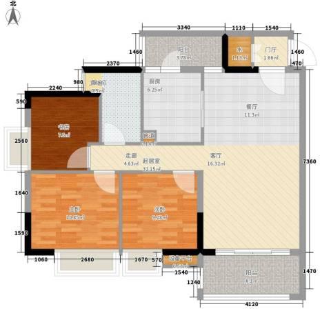 云山诗意3室0厅1卫1厨96.00㎡户型图