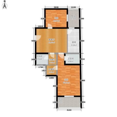 凤城明珠2室1厅2卫1厨103.00㎡户型图