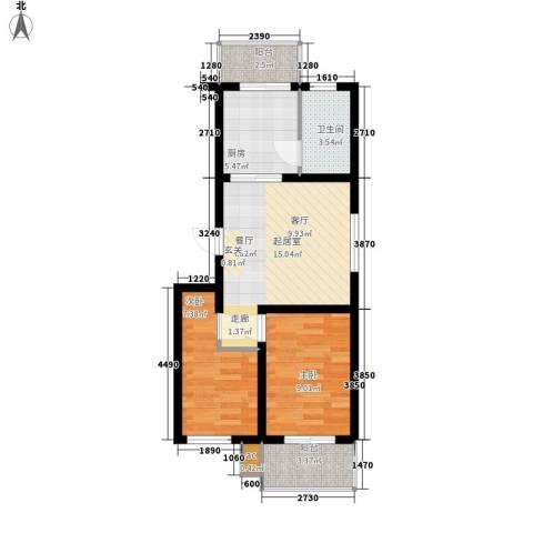 河头里小区2室0厅1卫1厨60.00㎡户型图