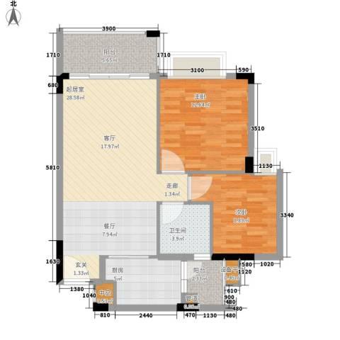 阳光假日园2室0厅1卫1厨70.00㎡户型图