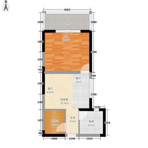 紫郡观澜1室0厅1卫1厨55.00㎡户型图