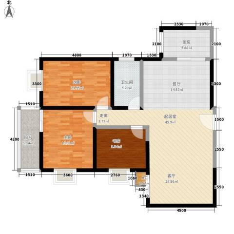 凤城明珠3室0厅1卫1厨123.00㎡户型图