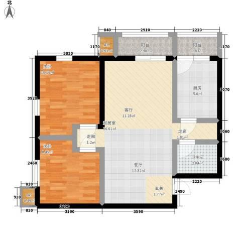 金洋华城2室0厅1卫1厨83.00㎡户型图
