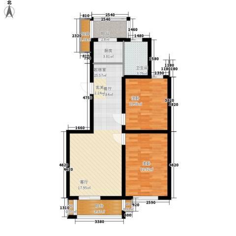 金港国际静园2室0厅1卫1厨91.00㎡户型图