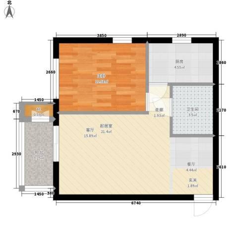 金洋华城1室0厅1卫1厨60.00㎡户型图