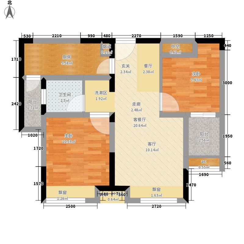 锦绣商业广场77.00㎡B户型2室2厅