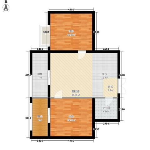 惠馨名仕公馆2室0厅1卫1厨90.00㎡户型图