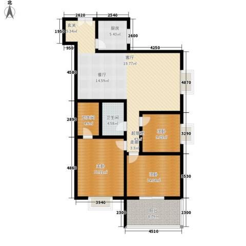 锦城四季3室0厅2卫1厨122.00㎡户型图