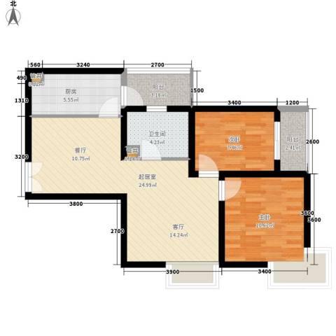 城南锦绣2室0厅1卫1厨80.00㎡户型图