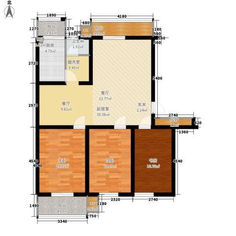 河头里小区3室0厅1卫1厨107.00㎡户型图