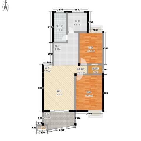 瀛洲湾2室0厅1卫1厨105.00㎡户型图