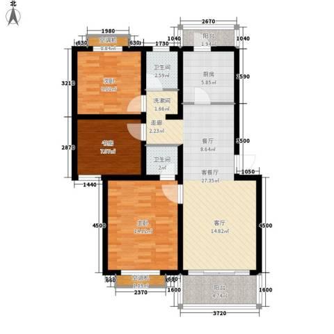 南洲教师楼3室1厅2卫1厨114.00㎡户型图