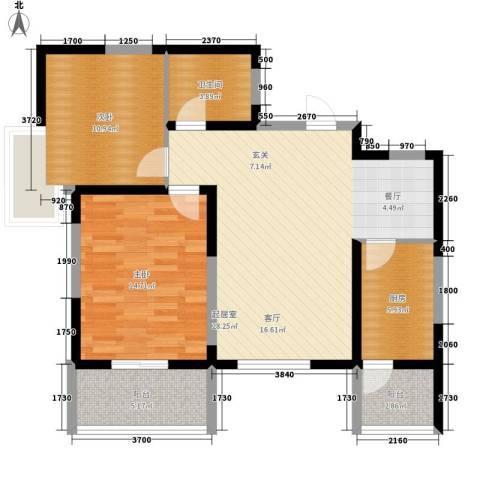 紫郡观澜2室0厅1卫1厨85.00㎡户型图