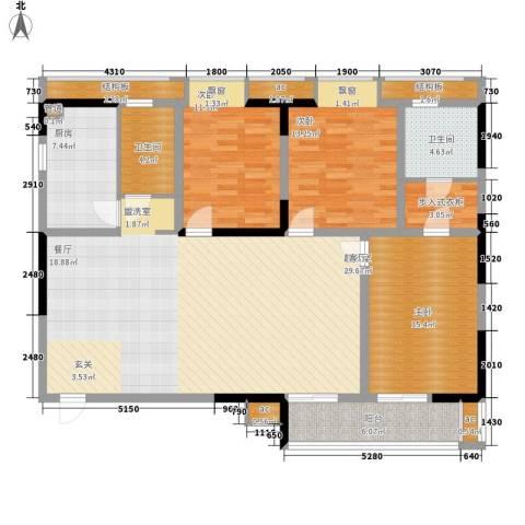 LOMO铂客3室0厅2卫1厨135.00㎡户型图