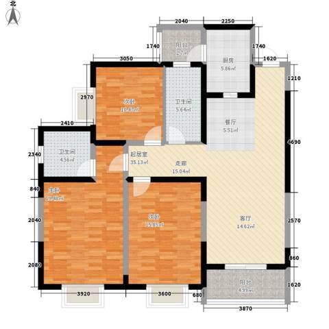 紫郡观澜3室0厅2卫1厨127.00㎡户型图