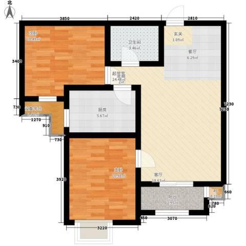 金洋华城2室0厅1卫1厨86.00㎡户型图
