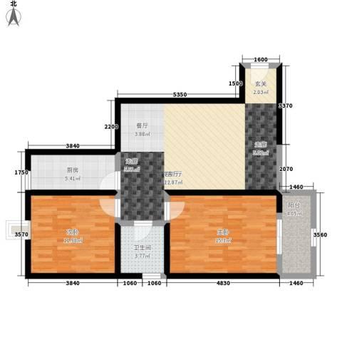 蔚蓝印象2室1厅1卫1厨80.00㎡户型图