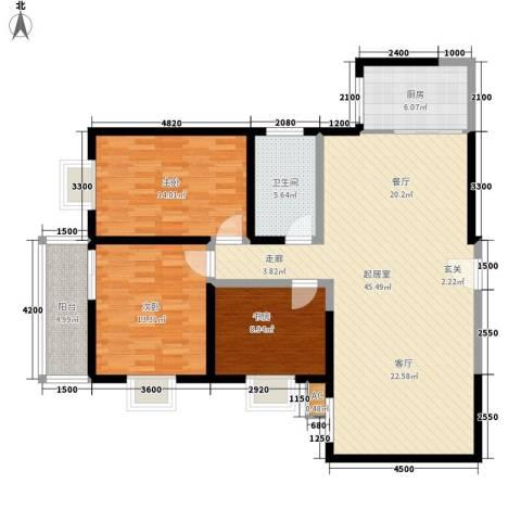兰泰花园3室0厅1卫1厨122.00㎡户型图