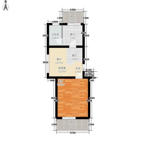 河头里小区1室1厅1卫0厨52.00㎡户型图