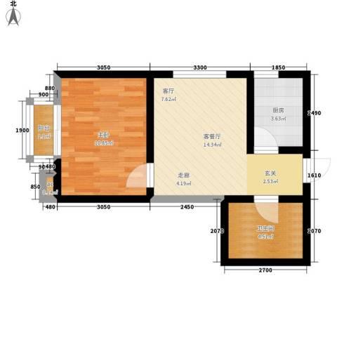 名流水晶宫1室1厅1卫1厨46.00㎡户型图
