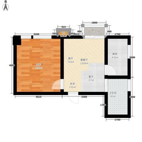 名流水晶宫1室1厅1卫1厨48.00㎡户型图