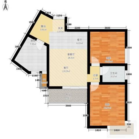 丽水花都2室1厅1卫1厨87.00㎡户型图