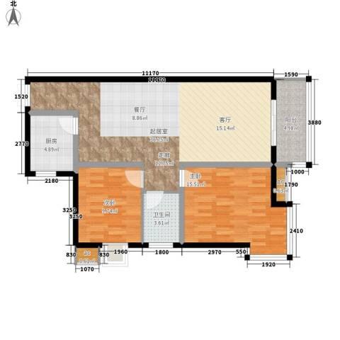 美立方2室0厅1卫1厨102.00㎡户型图
