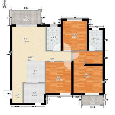 听城3室1厅2卫1厨115.00㎡户型图