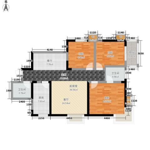 和平花园3室0厅2卫1厨120.00㎡户型图
